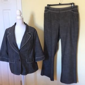 Fashion Bug Pant Suit in Gary and White stitching.